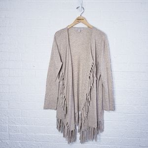 Laura Ashley fringe open cardigan sweater